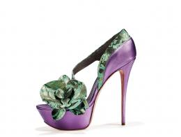 Purple metallic leather and green dvor metallic leather sandal with orchid