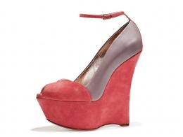 Coral suede and dove-grey nappa wedge peep toe with ankle strap