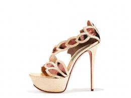 Rose leopard print pony and light yellow snake sandal