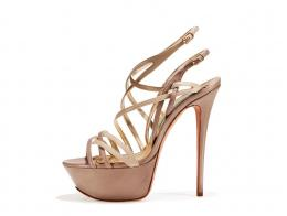 Dove-grey and beige nappa strappy sandal
