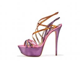 Multicoloured metallic leather and snake strappy sandal