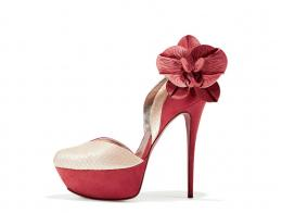 Coral suede and light yellow snake platform shoe with orchid
