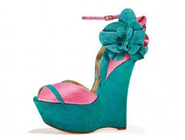 Turquoise suede and fuchsia snake wedge peep toe with orchids
